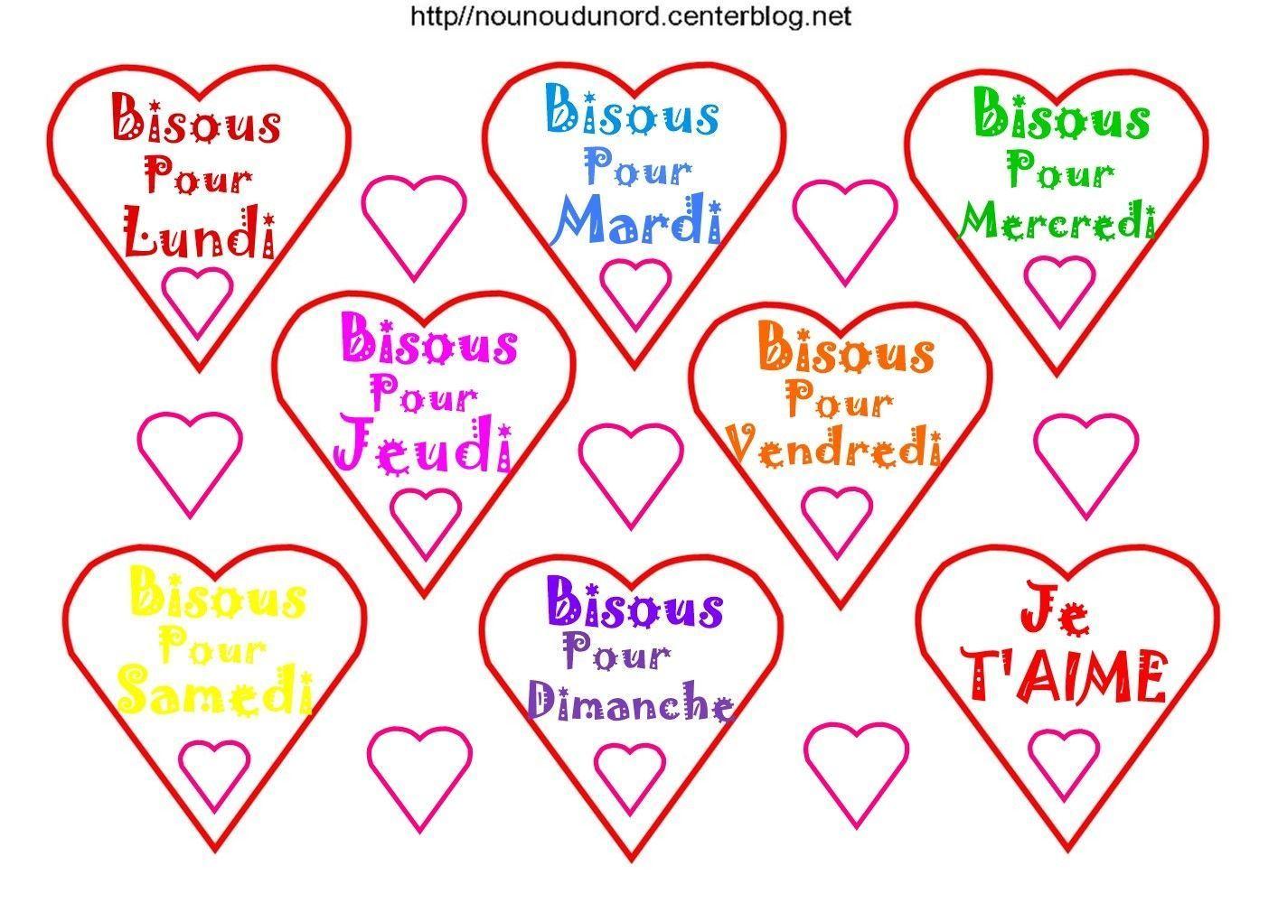 Bisous coeurs pour tous les jours de la semaine - Bisous dessin ...