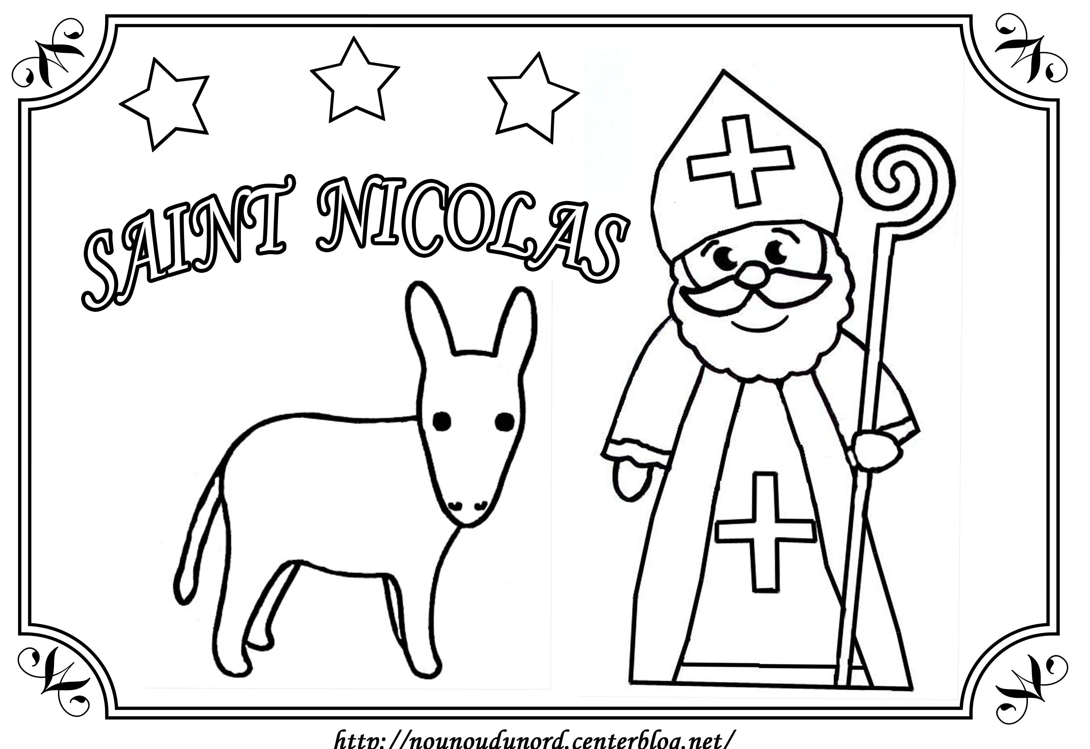 Coloriage Saint Nicolas Et Son âne Dessiné Par Nounoudunord
