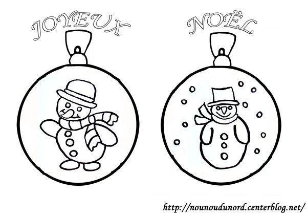Boule bonhomme de neige - Dessin boule de noel ...
