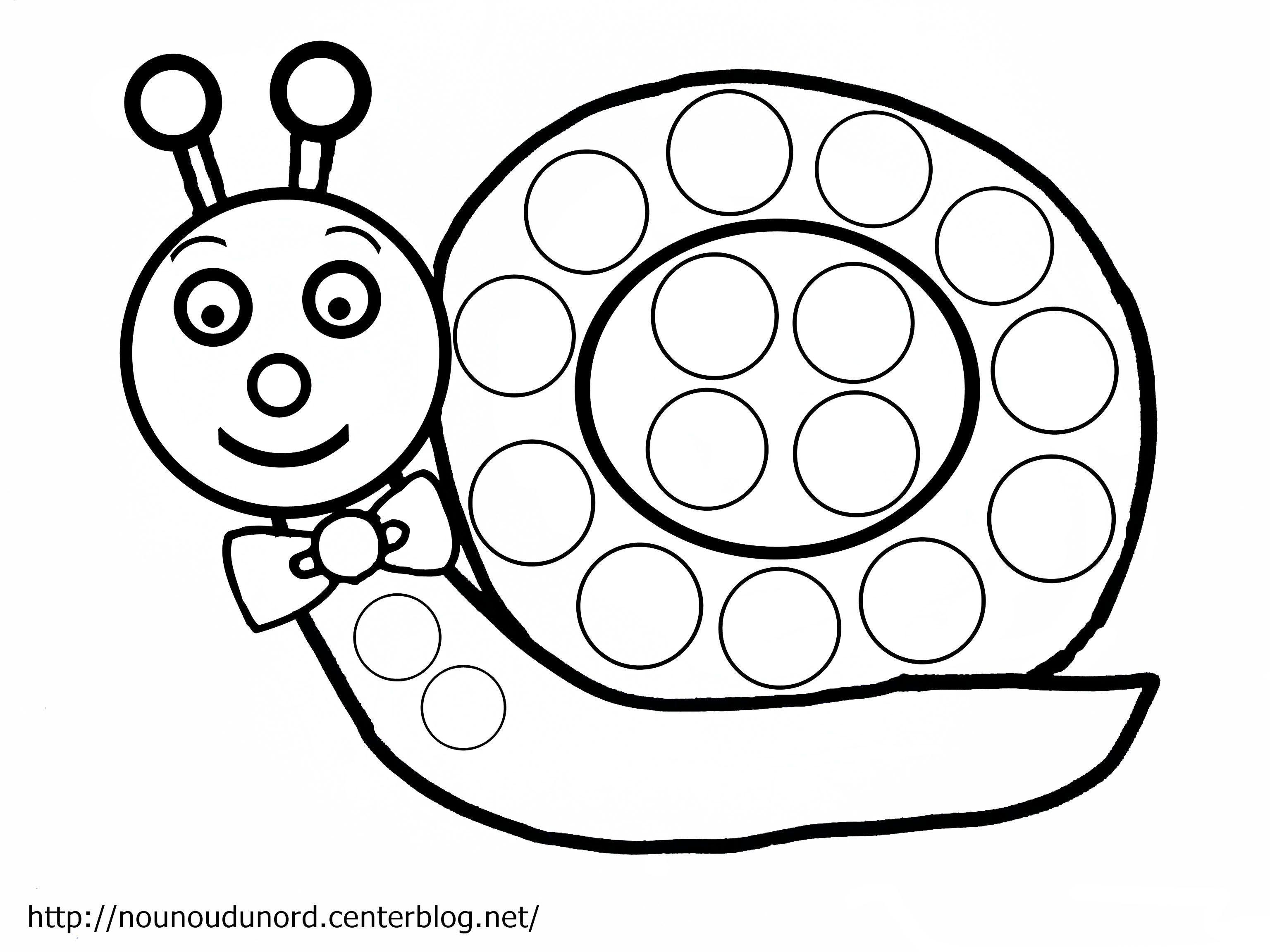 Coloriage escargot gommettes dessin par nounoudunord - Coloriage gommette ...
