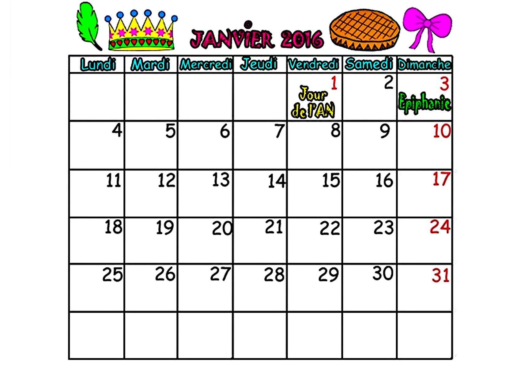 CALENDRIER 2016 mois de JANVIER, FEVRIER, MARS, AVRIL