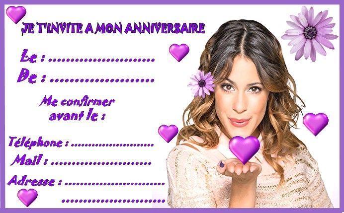 Etiquettes invitations violetta pour anniversaire - Carte violetta a imprimer ...