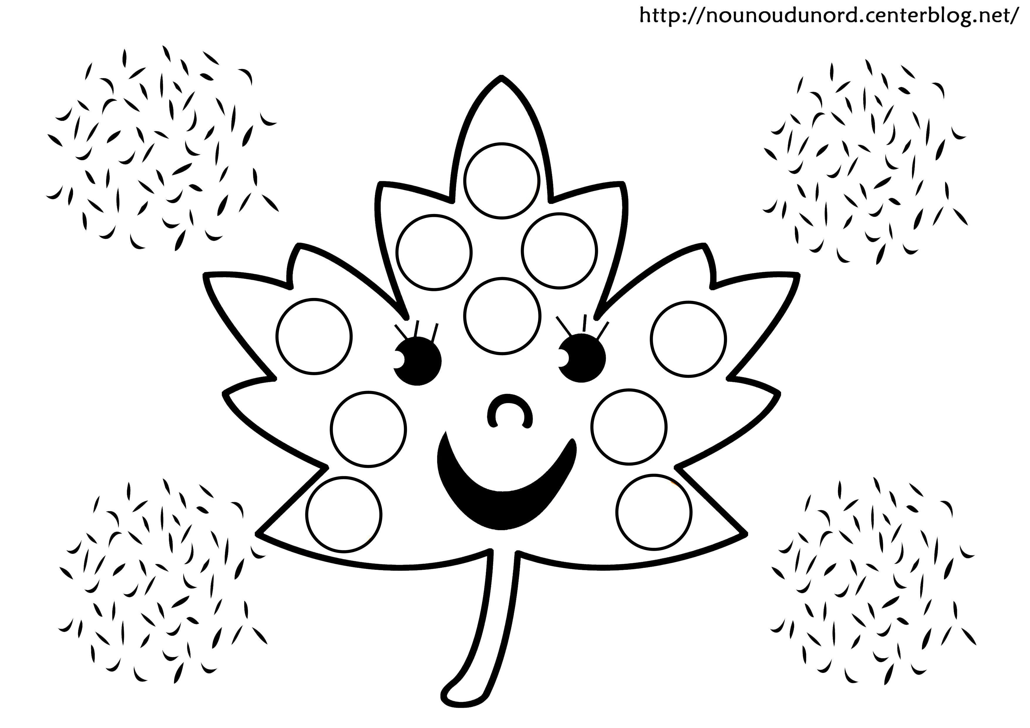 Coloriage feuille gommette - Coloriage feuille automne ...