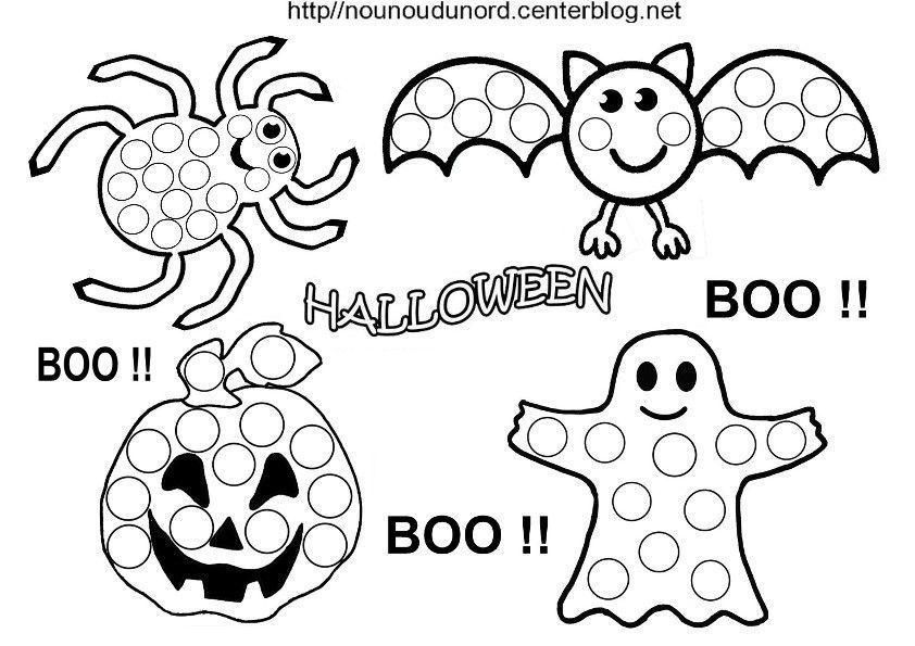 Gommettes Tableau Halloween En Noir Et Blanc Et Couleur
