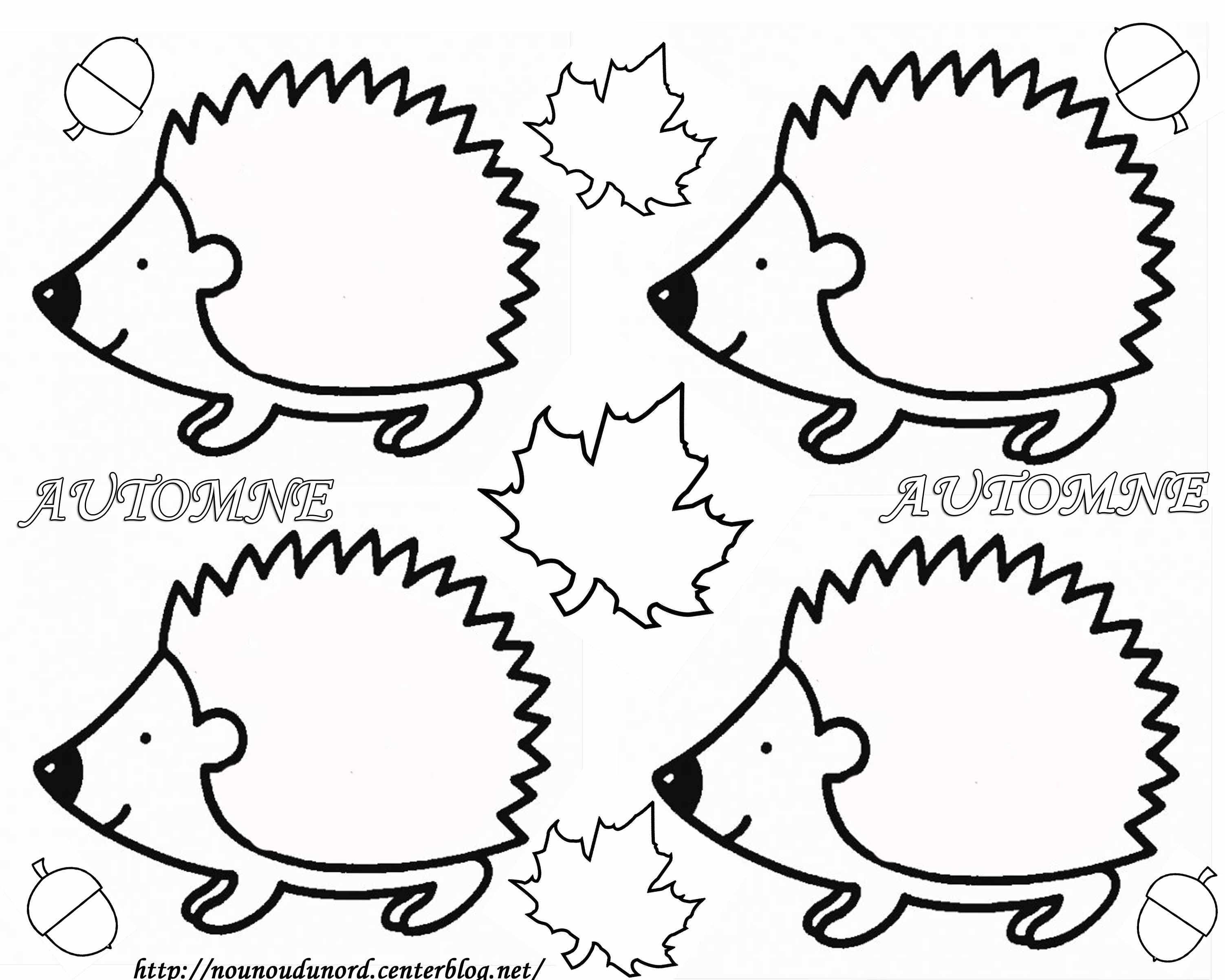 Oloriage hérisson d'automne dessiné par nounoudunord