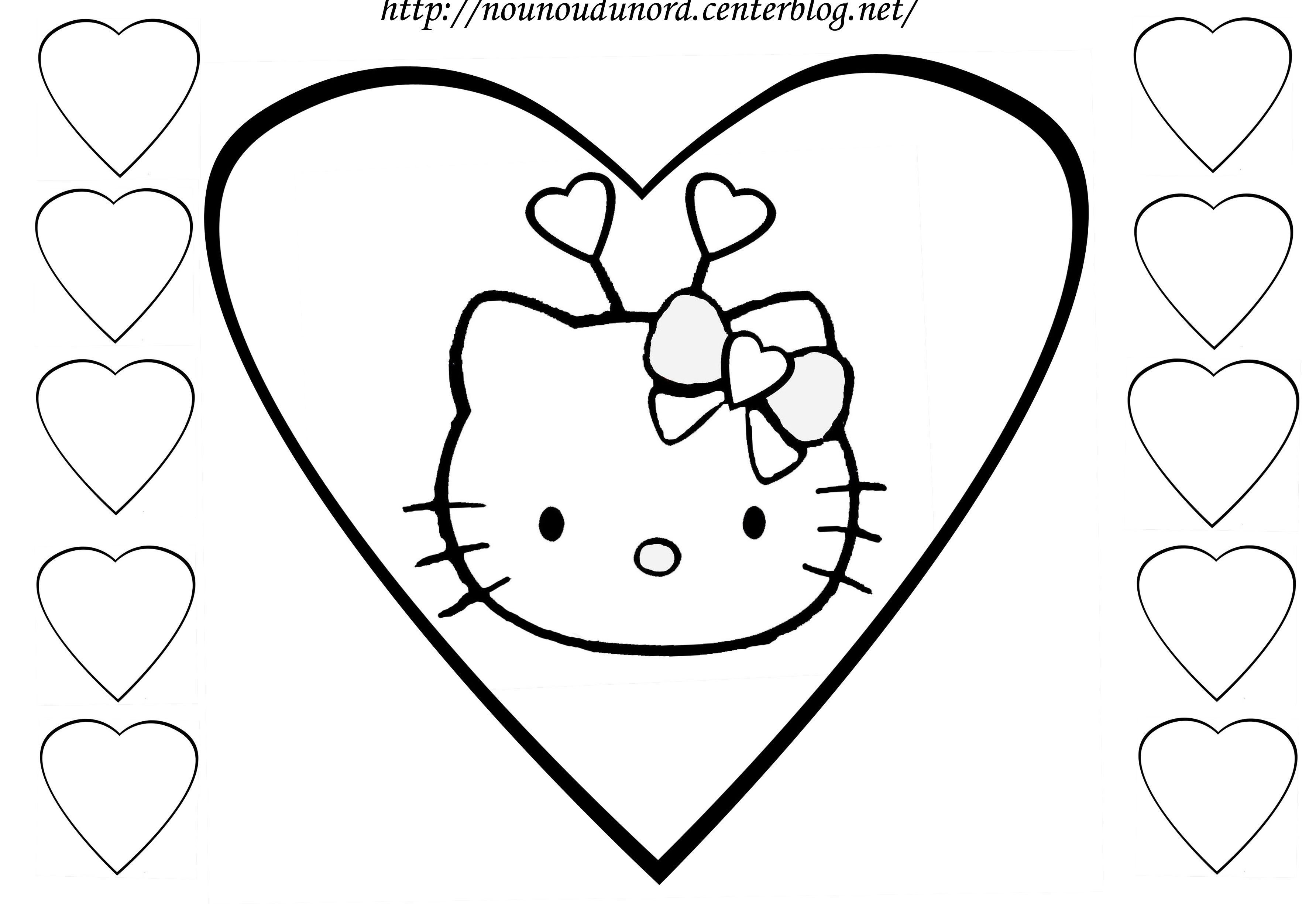 Coloriage coeurs st valentin - Coloriage hello kitty coeur ...