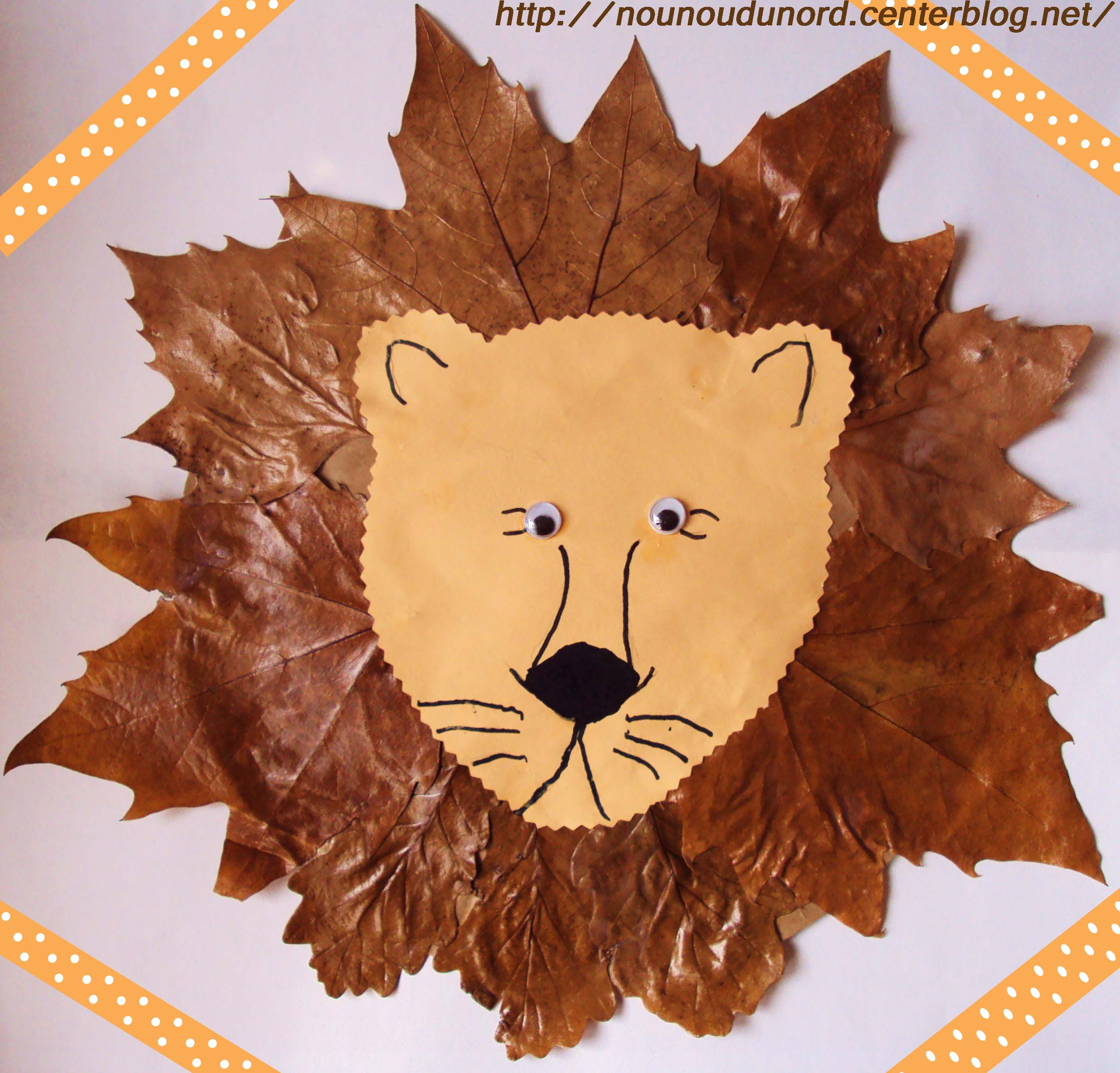 Lion aux feuilles dautomne réalisée par Axelle *Année 2010