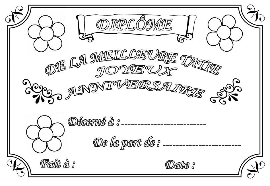 Coloriage Diplome Anniversaire Tatie Tata Nounou Tonton