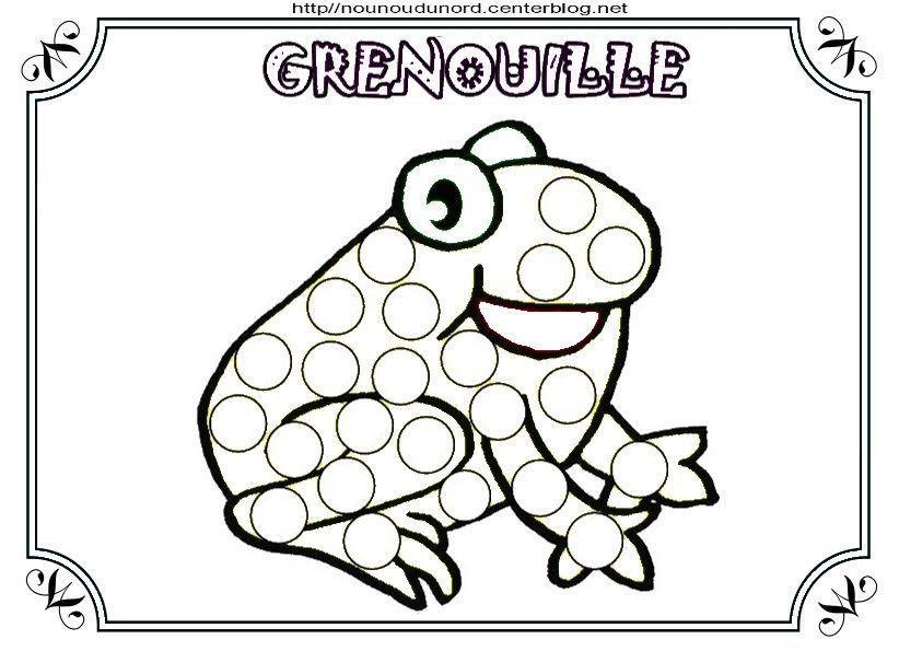 coloriage grenouille et a gommettes. Black Bedroom Furniture Sets. Home Design Ideas