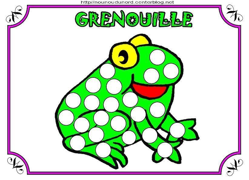 Grenouille coloriage gommettes en couleur - Dessin de grenouille verte ...