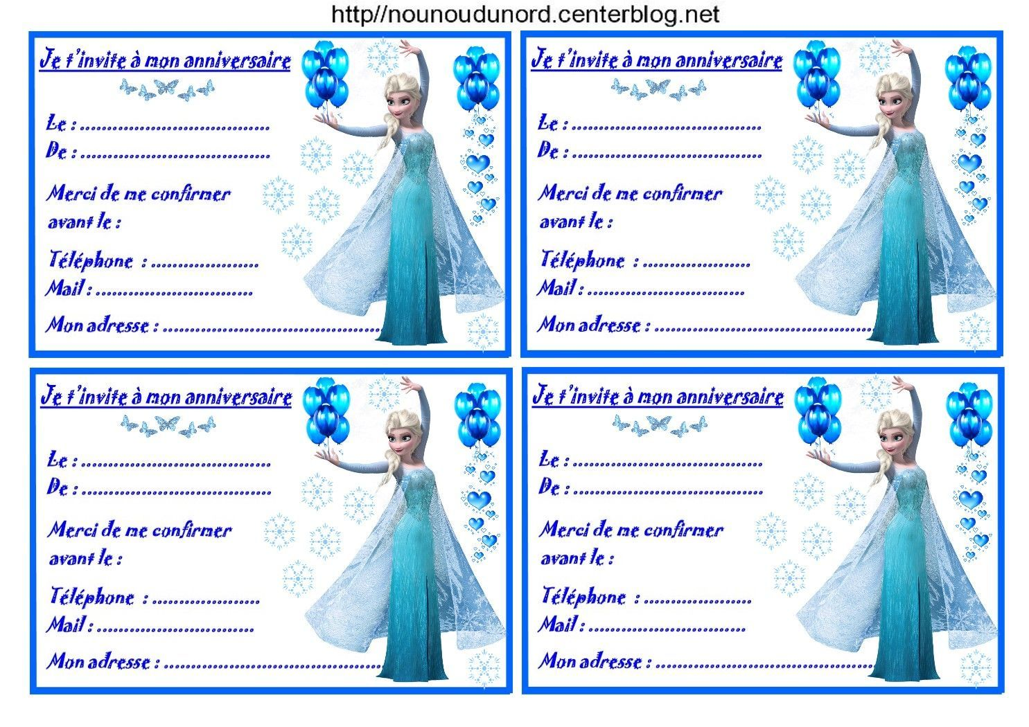Etiquettes invitations Reine des neiges pour anniversaire