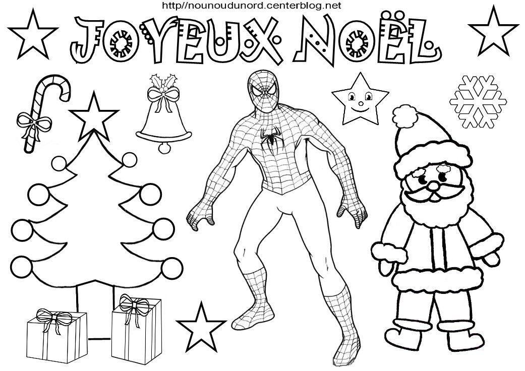 Coloriage noel heros des enfants - Coloriage spiderman noel imprimer ...