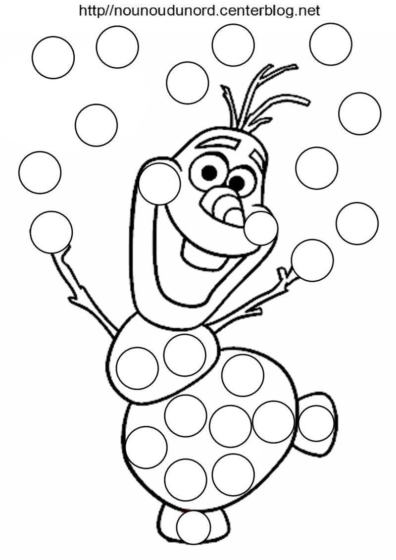 olaf coloriage pour gommettesjpg