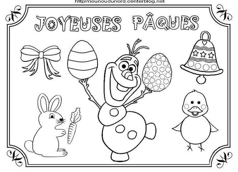 olaf paquesjpg - Coloriage Paques