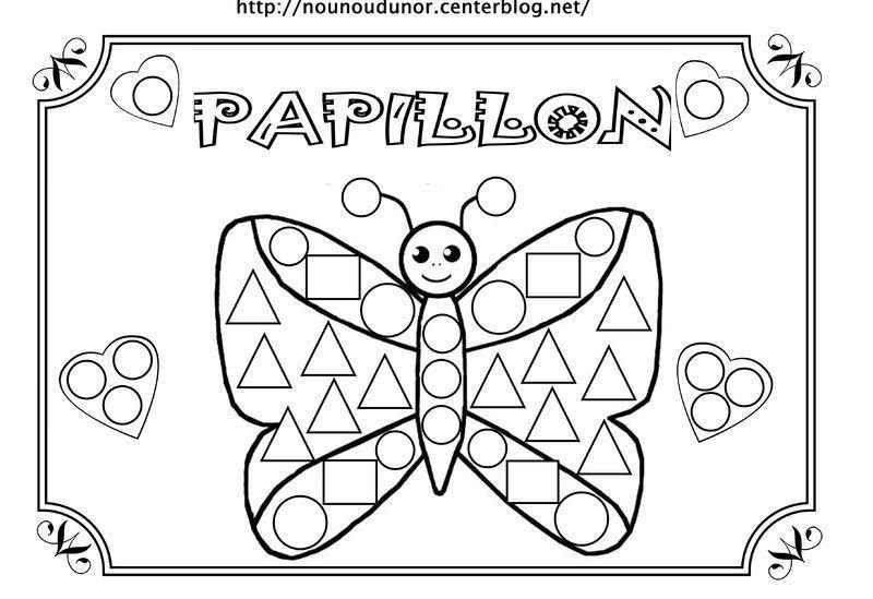 Coloriage a gommettes page 4 - Papillon maternelle ...