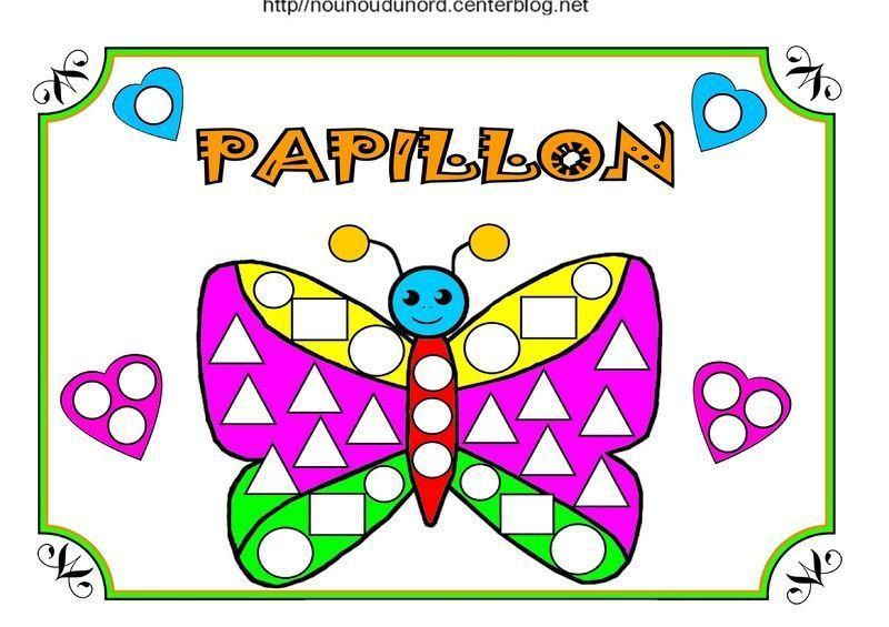 Papillon gommettes coloriage et couleur - Papillon dessin couleur ...