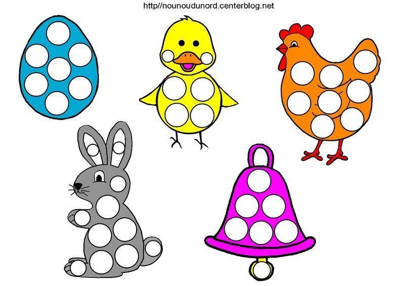 Lapins poules oeufs poussins cl ches coloriage gommettes for Oeuf en plastique pour poule