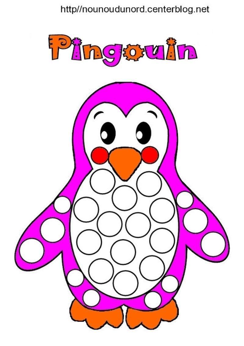 Pingouins colorier gommettes et en couleur - Coloriage minable le pingouin ...