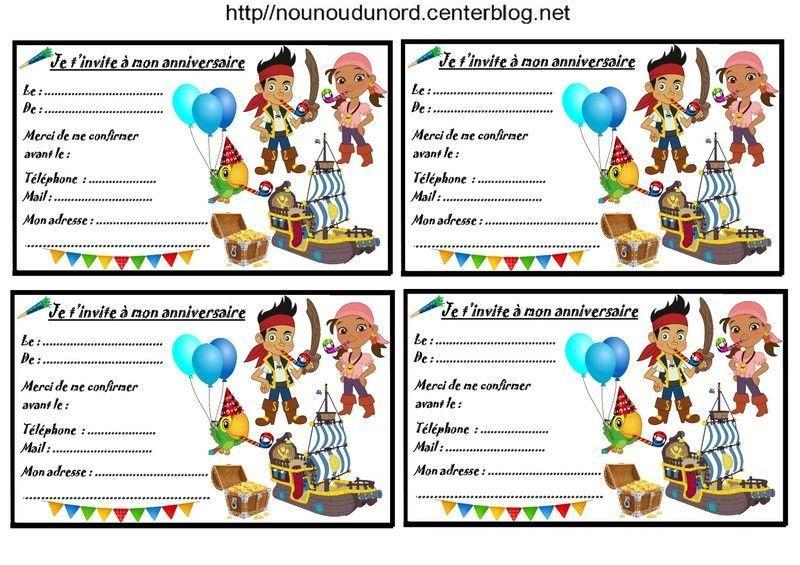 Connu Etiquettes cadeaux et invitations JAKE ET LES PIRATES JH18