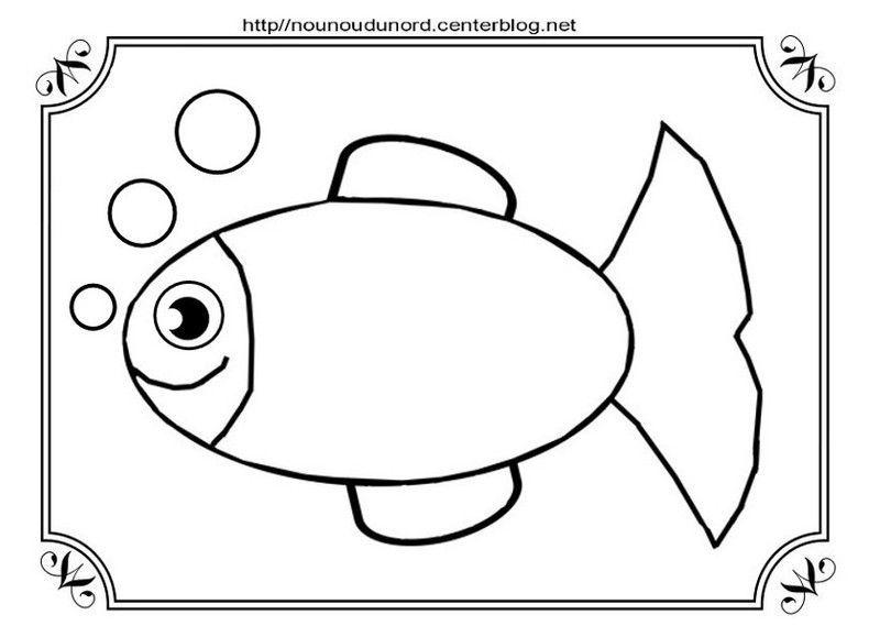 Poisson coloriage pour gommettes et en couleur - Dessin de poisson a imprimer gratuit ...