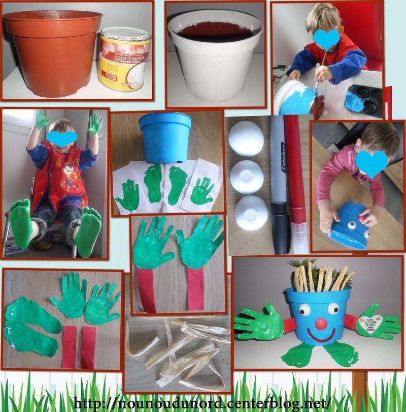 Pot de fleur rigolo pour la f te des p res de gaspard - Activite manuelle jardinage ...