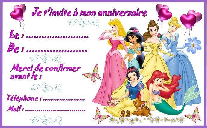 Bevorzugt princesses-invitation-grand-model.jpg (692×429) | anniversaire  KU18