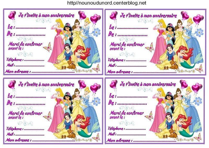 Etiquettes invitations Princesses pour anniversaire