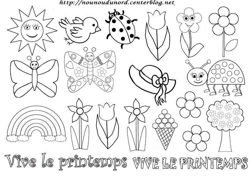 Coloriage Avril Printemps.Coloriage Printemps