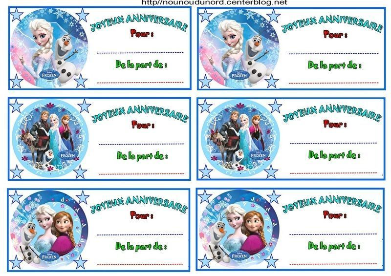 Célèbre Etiquettes invitations Reine des neiges pour anniversaire JB55