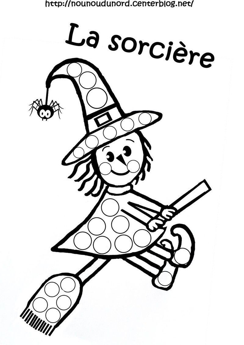 Coloriage halloween a gommettes - Coloriage bricolage ...