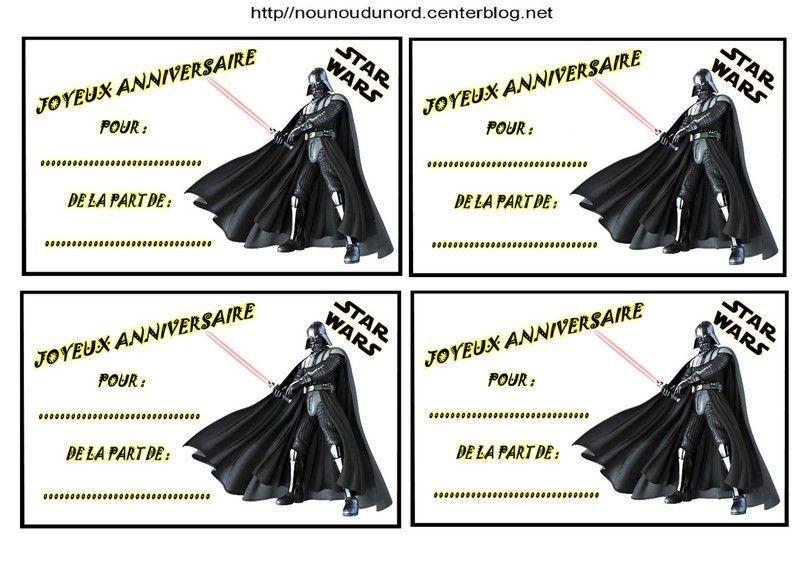 Turbo Etiquettes invitations Star wars pour anniversaire PN04