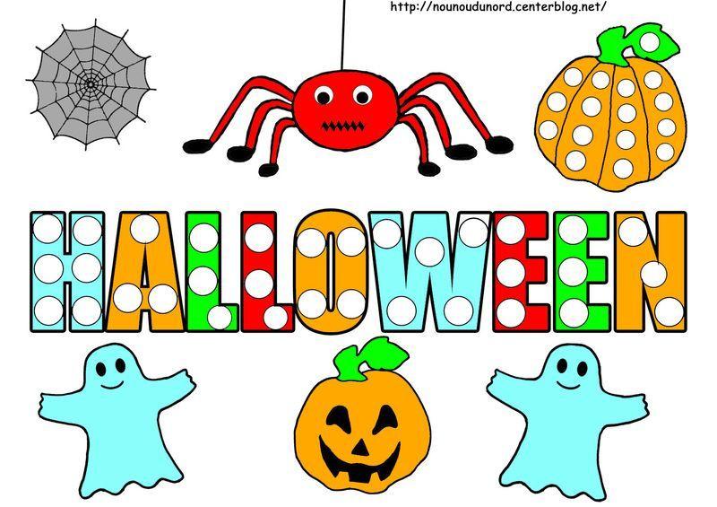 Coloriage halloween a gommettes page 2 - Dessin d hallowen ...