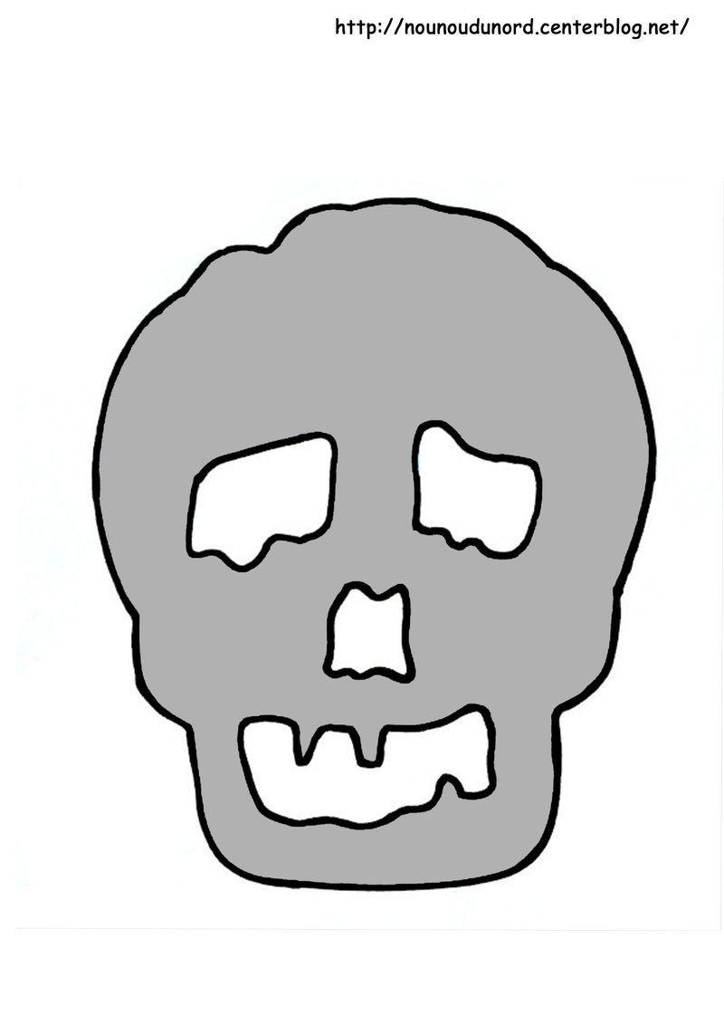 Tete de mort coloriage facile - Tete de mort dessin simple ...