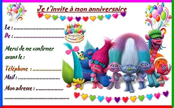 etiquettes et invitations les trolls pour anniversaire. Black Bedroom Furniture Sets. Home Design Ideas