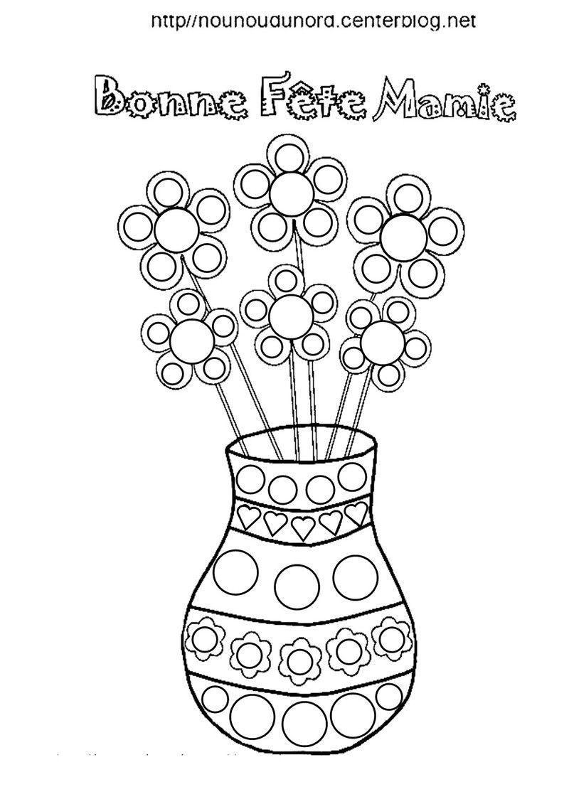 vase et fleurs fete des mamies a gommettes