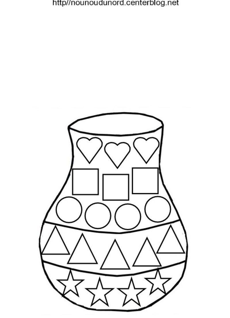 Vase en coloriage en couleur et pour es gommettes - Coloriage des formes ...