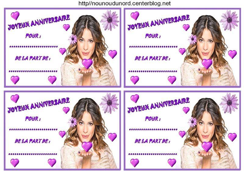 Super Etiquettes invitations Violetta pour anniversaire DE01