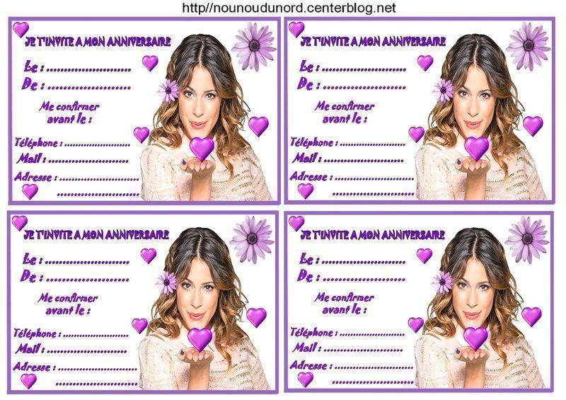 Extrêmement Etiquettes invitations Violetta pour anniversaire FG31